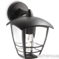 Philips Exterior Wall Lantern with E27 Lampholder Black 60W