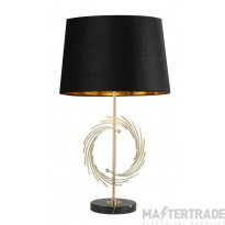 Searchlight 5310GO Fringe Table Lamp In Marble With Black And Gold Shade