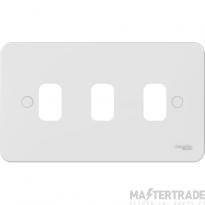Schneider Lisse 2-Gang 3-Module Grid Plate White GGBL03G