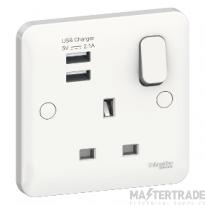 Schneider GGBL30102USBAS Socket 1Gang 13A USB  Lisse