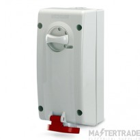 Scame 560.1678 IP44 Switch Interlocked Socket 2P+E 16A Red