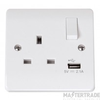 Click Curva 13A 2.1A Socket 1 Gang Switched c/w USB Charger White CCA771