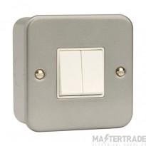 Click Metal Clad 10A Switch 2 Gang 2 Way & Box Metalclad CL012B