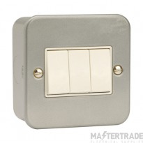 Click Metal Clad 10AX 3 Gang 2 Way Plate Switch CL013