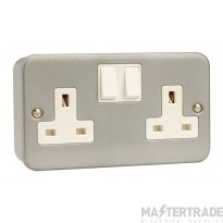 Click Metal Clad 13A Socket Outlet 2 Gang DP Switched & Box CL036B