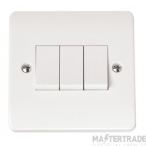 Click Mode 10A Plate Switch 3 Gang 2 Way White CMA013