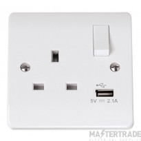 Click Mode 13A 2.1A Socket 1 Gang Switched c/w USB Outlet White CMA771