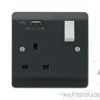 Click Mode Part M 1 Gang DP USB Switched Socket CMA771UAG