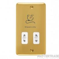 Click Deco Plus 115/230V Shaver Socket Dual Voltage Polished Brass DPBR100WH