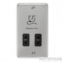 Click Deco Plus 115/230V Shaver Socket Dual Voltage Polished Chrome DPCH100BK