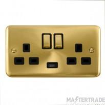 Click Deco Plus 13A Double Switched Socket USB DPSB570BK