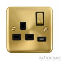 Click Deco Plus 13A Single Switched Socket USB DPSB571BK