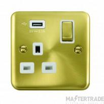 Click Deco Plus 13A 5V 2.1A Socket Ingot 1 Gang Switched & USB Outlet Satin Brass DPSB571UWH