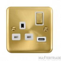 Click Deco Plus 13A Single Switched Socket USB DPSB571WH