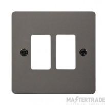 Click Define Black Nickel 2 Gang Grid Pro Front Plate FPBN20402