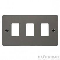 Click Define Black Nickel 3 Gang Grid Pro Front Plate FPBN20403