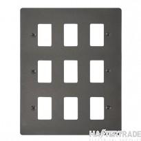Click Define Black Nickel 9 Gang Grid Pro Front Plate FPBN20509