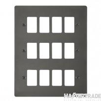 Click Define Black Nickel 12 Gang Grid Pro Front Plate FPBN20512