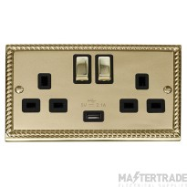 Click Deco Georgian Brass USB Double Switched Socket GCBR570BK