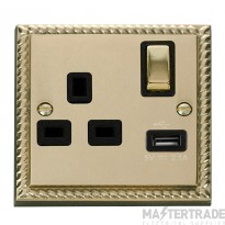 Click Deco Georgian Brass USB Single Switched Socket GCBR571BK
