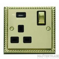 Click Deco 13A 5V 2.1A Socket Ingot 1 Gang Switched & USB Outlet Cast Brass GCBR571UBK