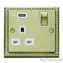 Click Deco 13A 5V 2.1A Socket Ingot 1 Gang Switched & USB Outlet Cast Brass GCBR571UWH