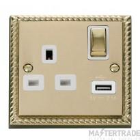 Click Deco Georgian Brass USB Single Switched Socket GCBR571WH