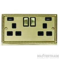 Click Deco Georgian Brass Twin USB Double Socket GCBR580BK