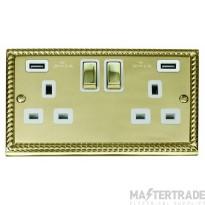 Click Deco Georgian Brass Twin USB Double Socket GCBR580WH