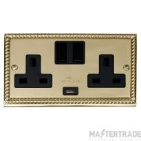 Click Deco Georgian Brass USB Double Switched Socket GCBR770BK