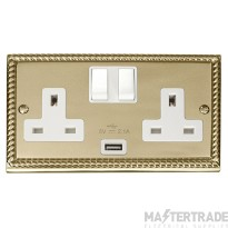Click Deco Georgian Brass USB Double Switched Socket GCBR770WH