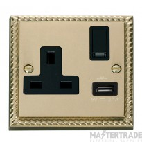 Click Deco Georgian Brass USB Single Switched Socket GCBR771BK
