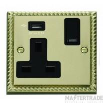 Click Deco 13A 5V 2.1A Socket 1 Gang Switched & USB Outlet Cast Brass GCBR771UBK