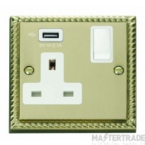 Click Deco 13A 5V 2.1A Socket 1 Gang Switched & USB Outlet Cast Brass GCBR771UWH