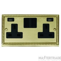 Click Deco Georgian Brass Twin USB Double Socket GCBR780BK