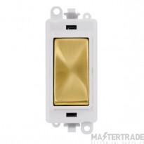 Click GridPro 20AX Switch 1 Way Module - White Insert Satin Brass GM2001PWSB