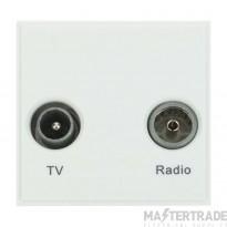 Click New Media Socket TV FM Diplexed Polar White MM420WH