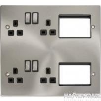New Media Satin Chrome 2 Tier Semi Modular Plate MP606SCBK