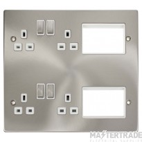 New Media Satin Chrome 2 Tier Semi Modular Plate MP606SCWH