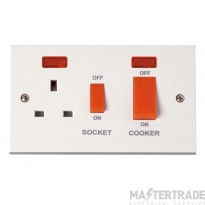 Click Polar 45A Cooker Switch with 13A Sw Socket & Neons PRW205