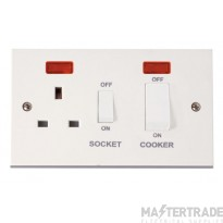 Click Polar 45A Cooker Switch with 13A Sw Socket & Neons PRW505