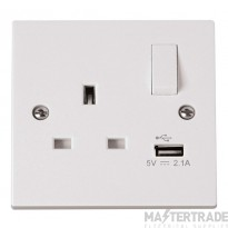 Click Polar 13A 2.1A Socket 1 Gang Switched c/w USB Outlet White PRW771