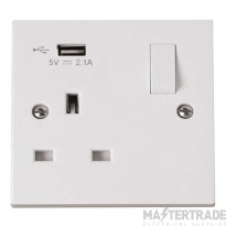 Click Polar 13A 5V 2.1A Socket 1 Gang Switched & USB Outlet White PRW771U