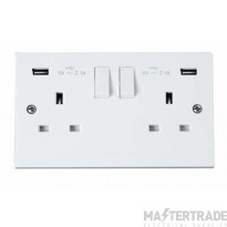 Click Polar 13A 2x2.1A Socket 2 Gang Switched c/w Twin USB Outlet White PRW780