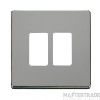 Click Definity Pol/Chrome 2 Gang Grid Pro Front Plate SCP20402CH