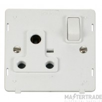 Click Definity 15A Socket Interior Round Pin Switched Polar White SIN034PW