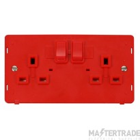 Click Definity 13A Socket Interior 2 Gang DP Switched Red SIN036RD