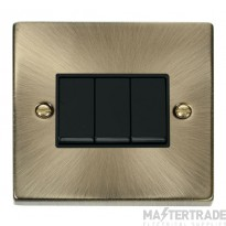 Click Deco Antique Brass 3 Gang 2 Way Switch VPAB013BK