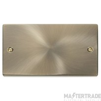 Click Deco Antique Brass 2 Gang Blank Plate VPAB061