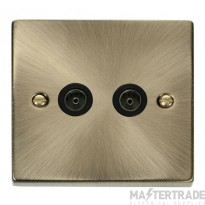 Click Deco Socket CoAxial Twin Antique Brass VPAB066BK